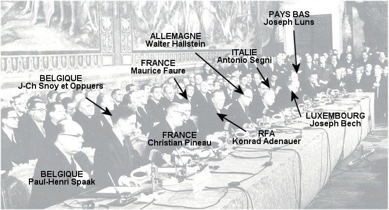 Photo de la signature du traité de Rome le 25 mars 1957  (source: accueil ecjs st louis ste marie)