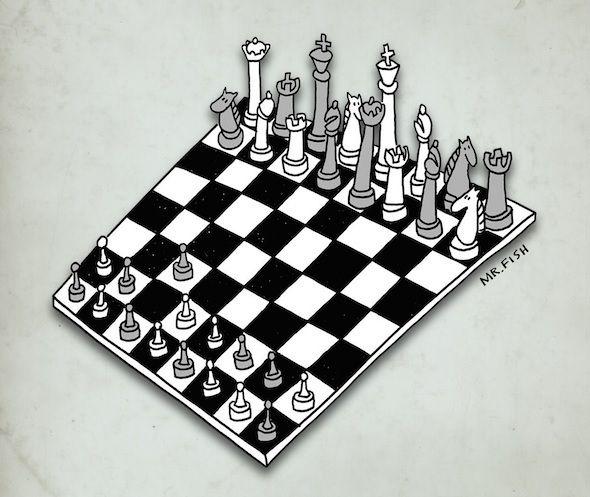 [Dessin d'illustration] -  D'un côté les puissants, le monde de la finance, du patronat, des médias et des politiciens asservis, de l'autre, le peuple dans sa diversité . Qui fera échec à l'autre ?