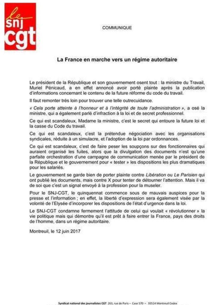 La FRANCE en MARCHE vers un régime AUTORITAIRE [Communiqué SNJ -CGT]