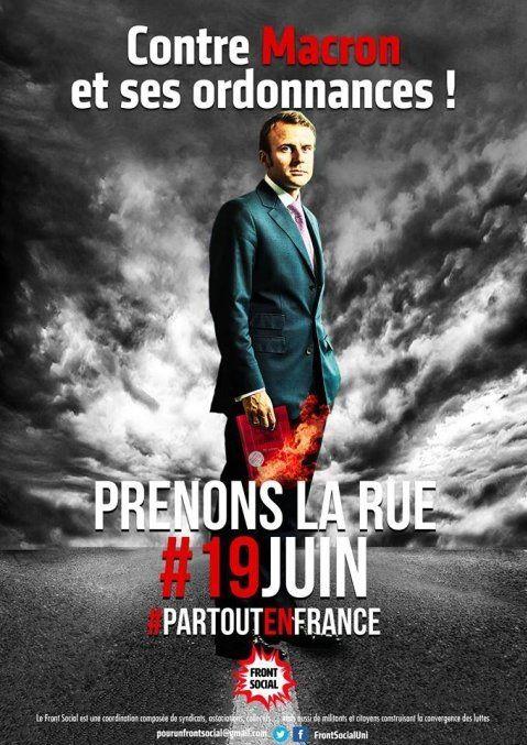 RASSEMBLEMENT « Contre Macron et ses ordonnances ! » LUNDI 19 JUIN à 18 h 00 devant l'Assemblée Nationale