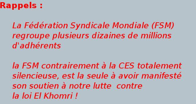 Pourquoi cet ostracisme anti -FSM (Fédération Syndicale Mondiale) de la part de la direction de la CGT ?