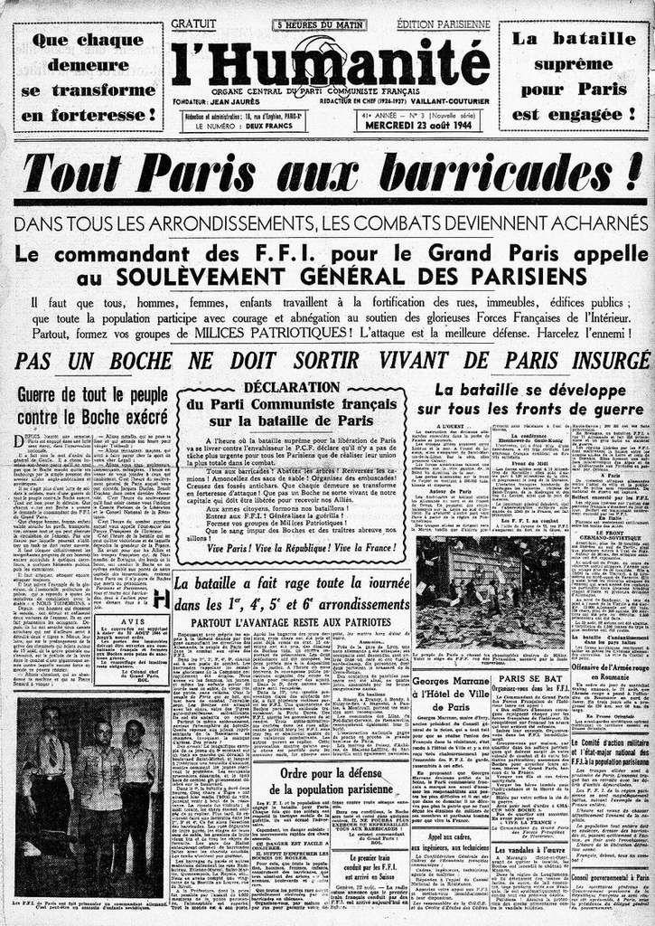 La une de l'Humanité du 23 août 1944