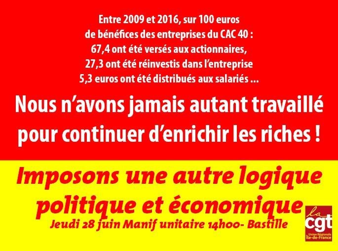 MANIFESTATION Interprofessionnelle JEUDI 28 JUIN 2018 à Paris-Bastille  [Appel CGT – FO – UNEF – UNL – FIDL]