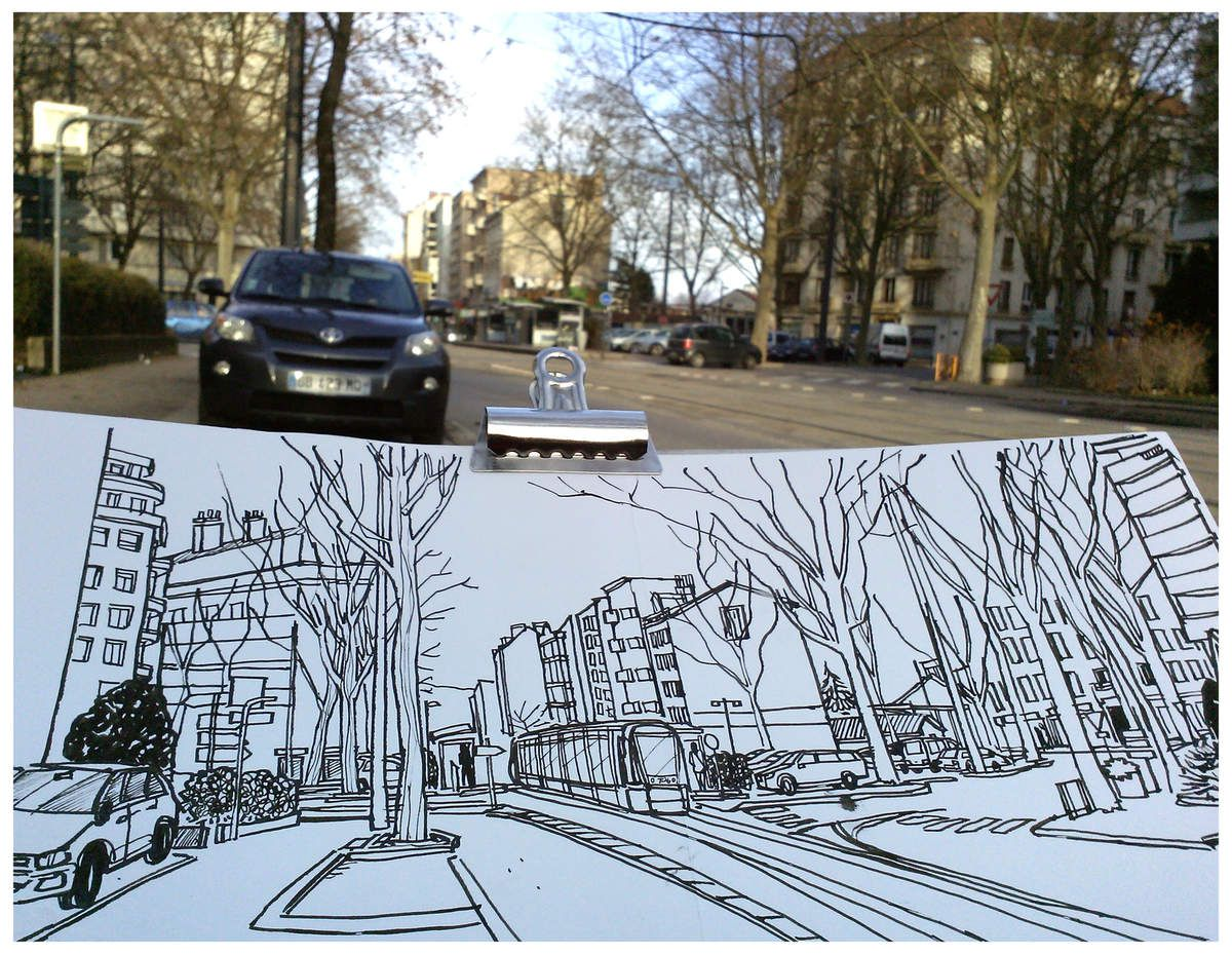 Du croquis in situ // Croquis de quartier // Illustrations pour GremaG