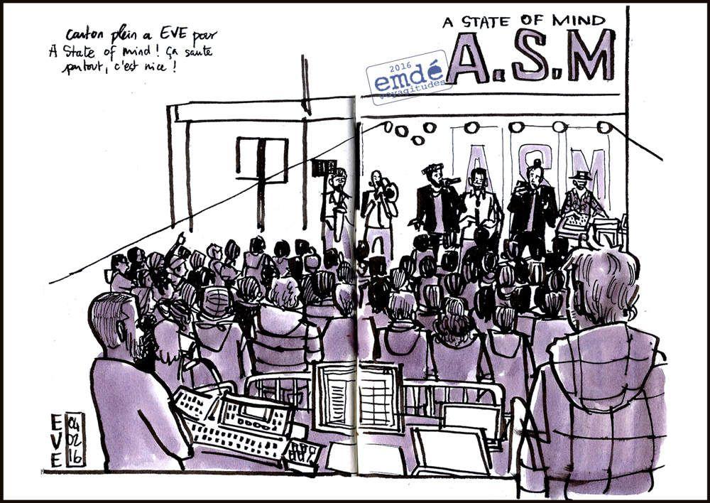 croquis de concert : Linkrus & Kespar // A.S.M. (A State of Mind) // DJ Little Tune à E.V.E - emdé, 2016