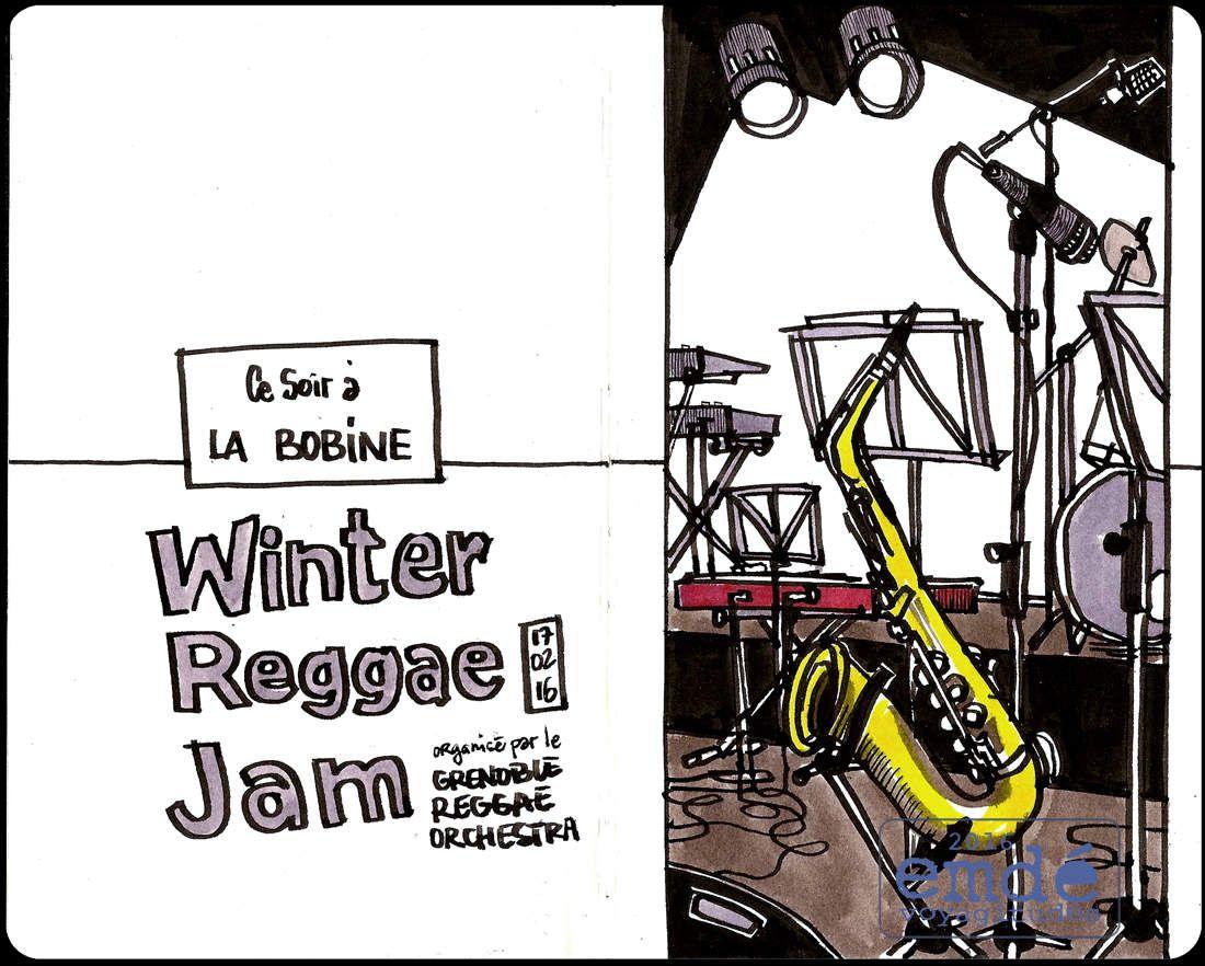 croquis de la Winter Reggae Jam, à La Bobine - 17.02.16 // emdé, 2016