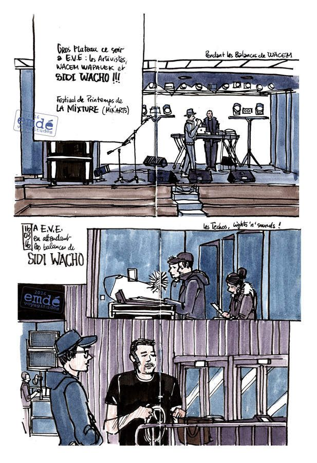 Sidi Wacho - Kacem Wapalek - Les Artivistes à E.V.E. // croquis de concert // emdé, 2016