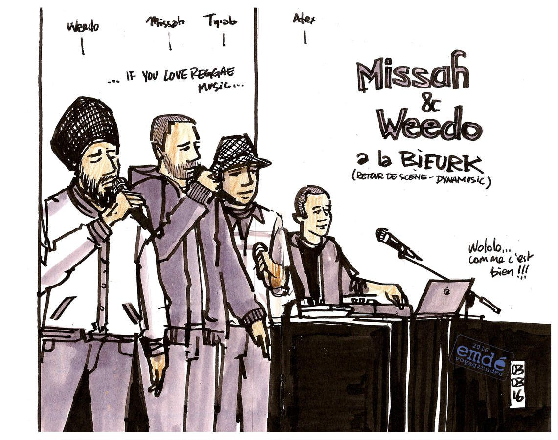 Billy the Kick - Missah Weedo - Red Doctor // Croquis de concert // emdé, 2016