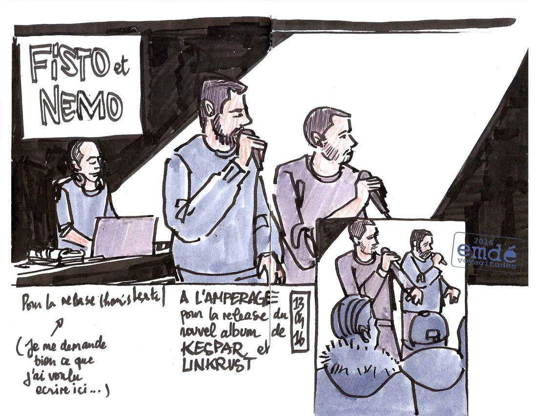 Kespar & Linkrust à l'Ampérage // 13.04.16 // Croquis de concert // emdé, 2016