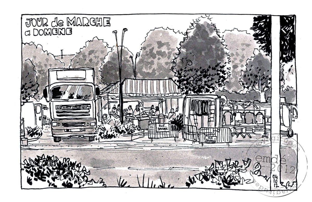 croquis du marché - Domène // emdé, 2012