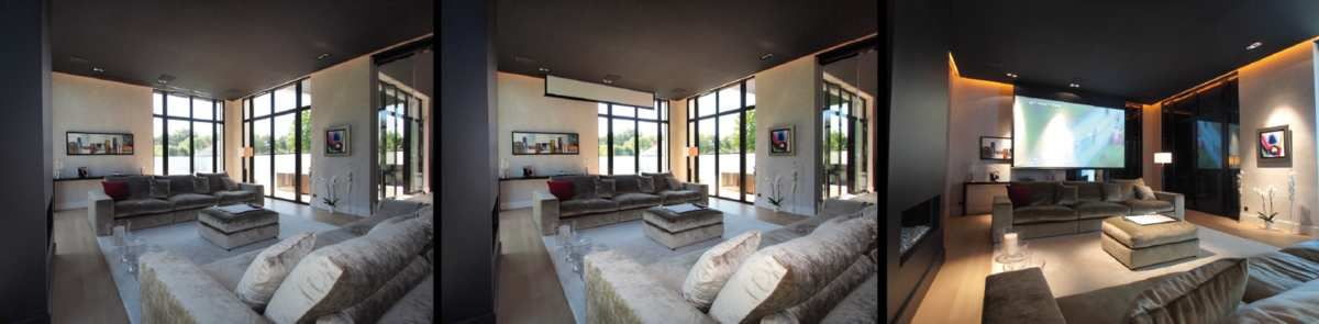 belle installation cin ma dans un loft installations audiovisuelles et domotiques. Black Bedroom Furniture Sets. Home Design Ideas