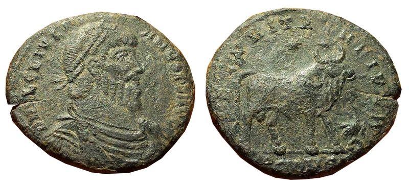 Double Maiorina Julien II A/ D N FL CL IVLI-ANVS P F AVG, buste barbu, cuirassé, drapé et diadémé à droite, R/ SECVRITAS REIPVB, taureau debout à droite, 2 étoiles au-dessus, aigle debout a droite tête a gauche devant tenant une couronne dans son bec TCONST[● ?] à l'exergue – Arles -362/363 – RIC.318 ou 320 - prix : 80€