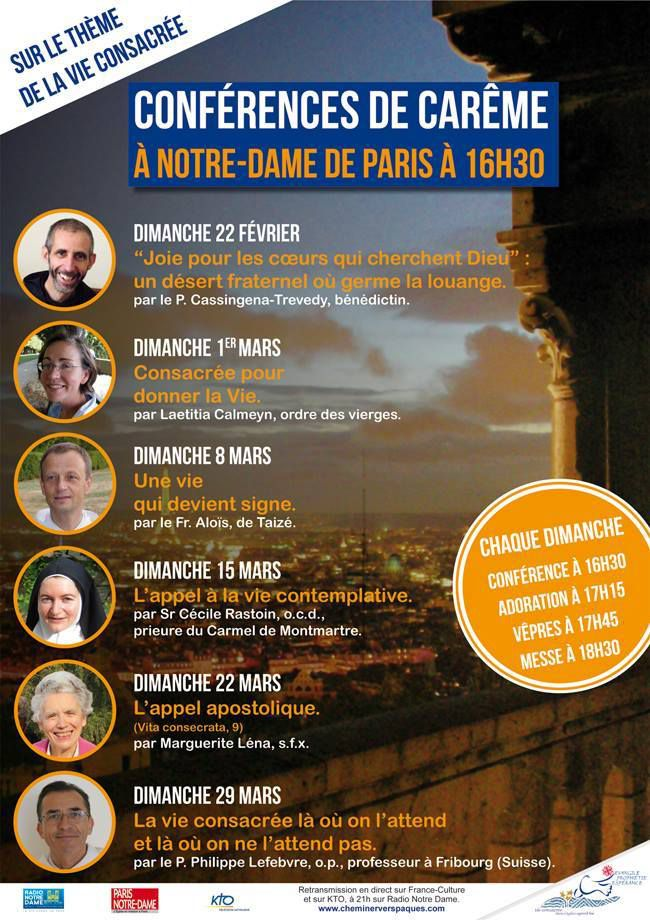 LES CONFERENCES DE CAREME A NOTRE DAME DE PARIS EN DIRECT SUR KTO