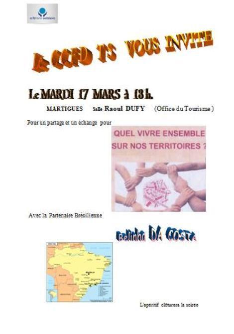 Mardi 17 mars à 18h à Martigues Salle  Raoul  Dufy (Office du Tourisme)