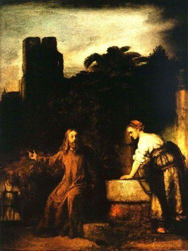 """""""Jésus et la Samaritaine"""", Rembrandt, 1658."""