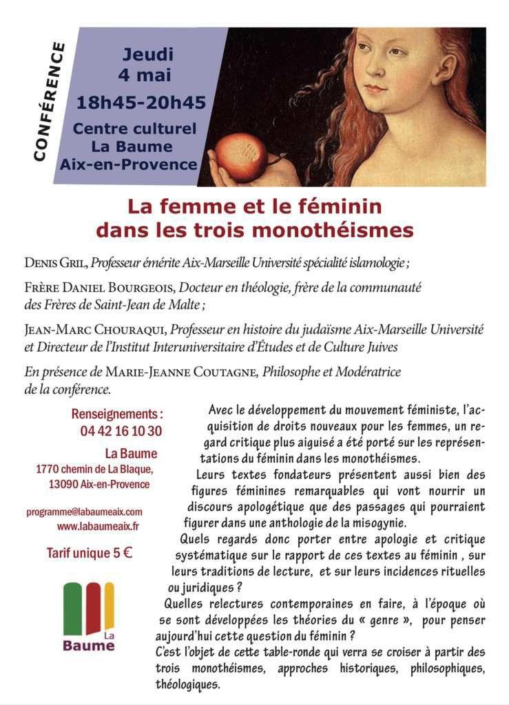 LA FEMME ET LE FEMININ DANS LES TROIS MONOTHEISMES