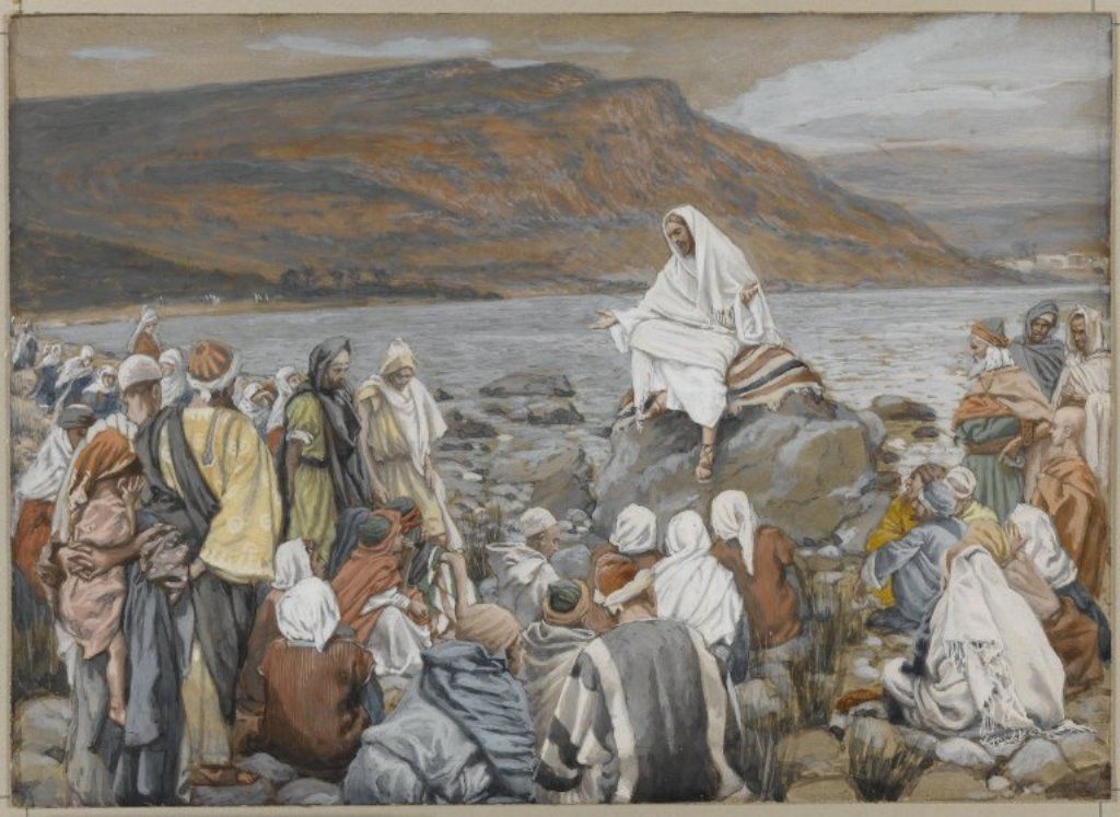 « Jésus, assis au bord de mer, prêche » James Tissot (1836-1902) Brooklyn Museum, New York.