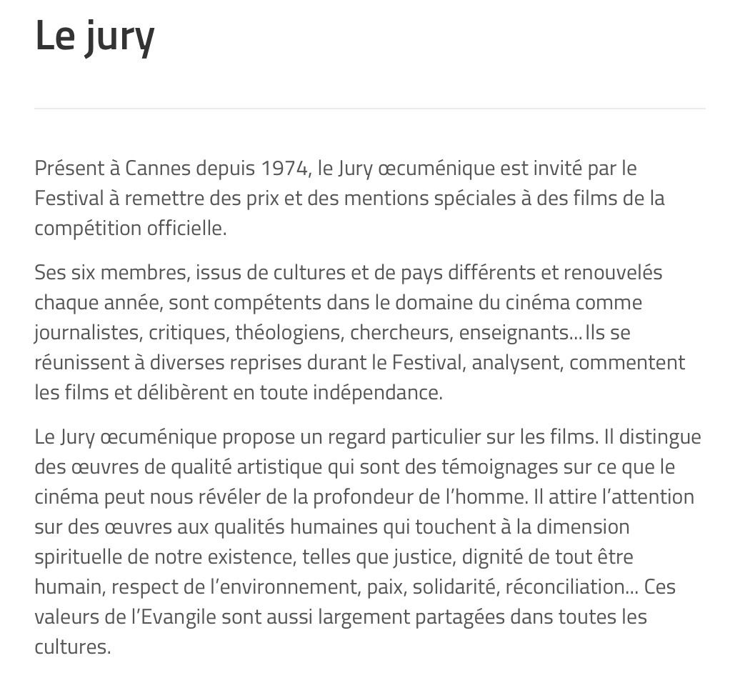LE JURY ŒCUMÉNIQUE DU FESTIVAL DE CANNES