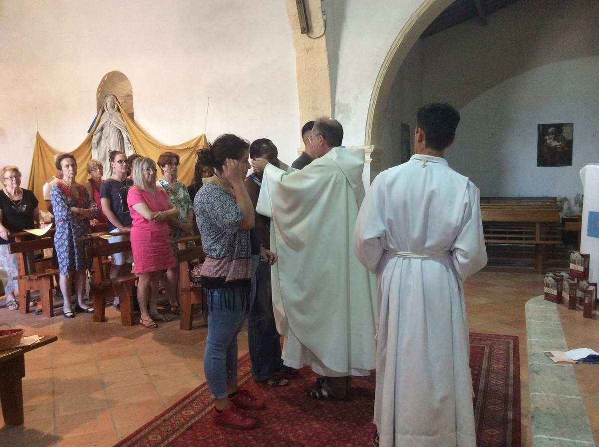 Départ à la Maison Saint François, Montée à la Vierge, Adoration, Action de grâce pour tous les sacrements reçus, Accueil en église de 3 futurs catéchumènes