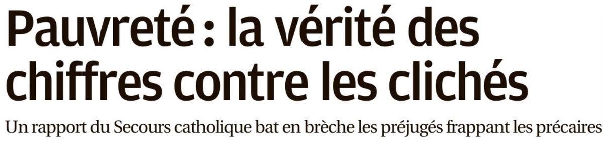 SECOURS CATHOLIQUE : L'ÉTAT DE LA PAUVRETÉ EN FRANCE