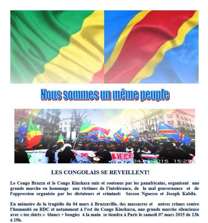 DIASPORA/MARCHE DU 07 MARS 2015 : LES CONGOLAIS DE LA DIASPORA DES DEUX CONGO SE REVEILLENT !