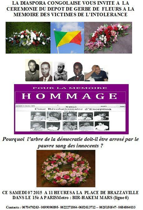 HOMMAGE AUX MORTS POUR LE CONGO : DEPOT D'UNE GERBE DE FLEURS A LA PLACE DE BRAZZAVILLE LE 07/03/2015