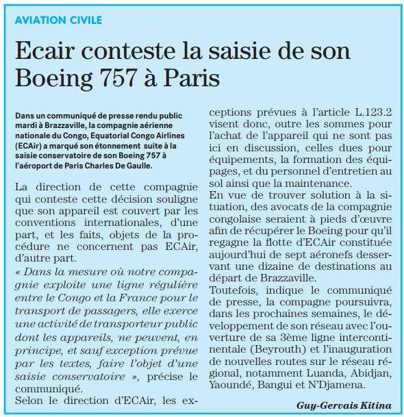 ECAIR : POURQUOI A-T-ON SAISI LE BOEING 757 DE CETTE COMPAGNIE A PARIS ET PAR QUI ?