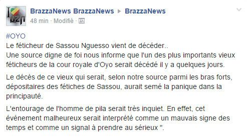 CONGO/LA JUSTICE DES CIEUX EST EN MARCHE : BRAZZA NEWS ANNONCE LE DECES D'UN IMPORTANT FETICHEUR DE SASSOU !