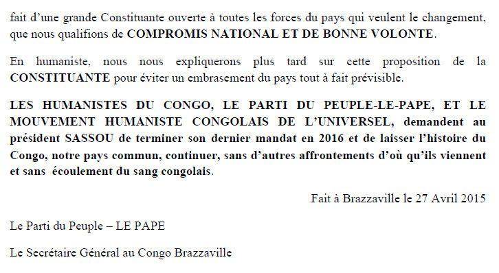 LE PARTI DU PEUPLE (LE PAPE) SOUTIENT L'IDEE D'UNE TRANSITION EN 2016 AVEC CONSTITUANTE
