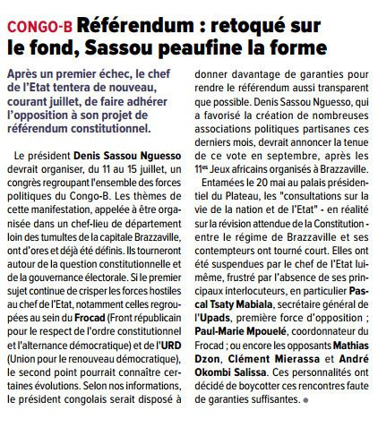 PRESSE/REFERENDUM : DENIS SASSOU NGUESSO VEUT L'ORGANISER EN SEPTEMBRE 2015