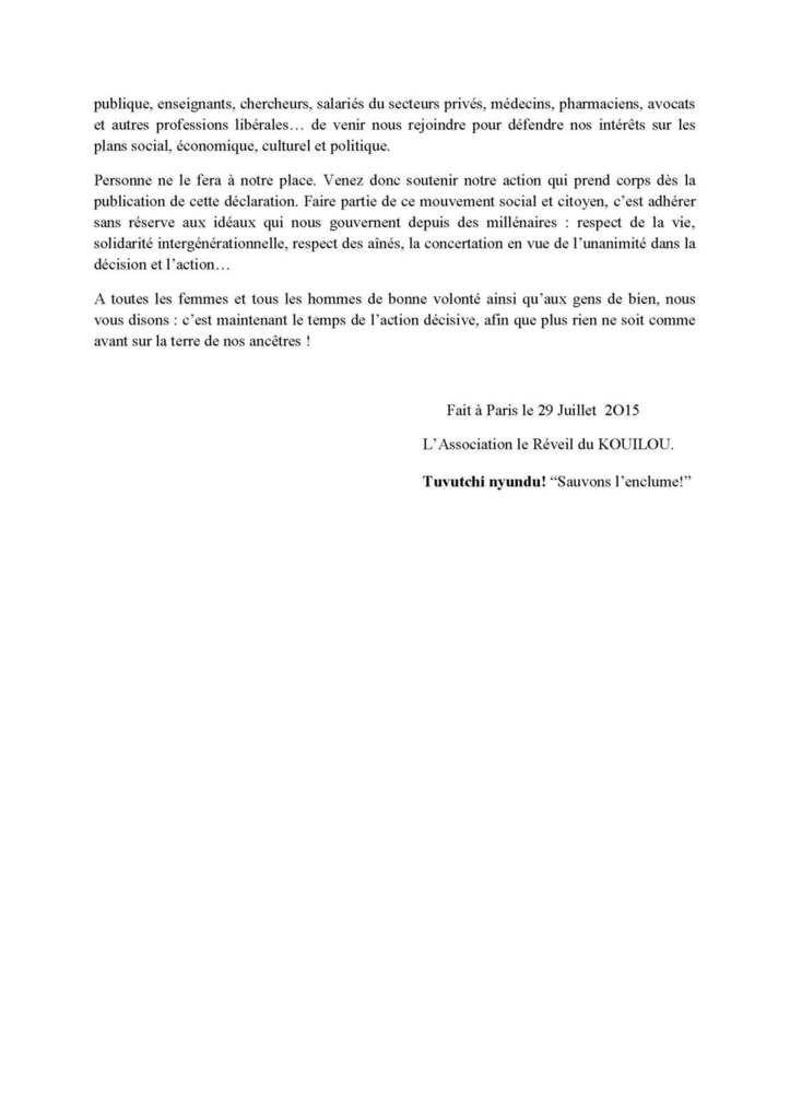 DECLARATION DE LA DIASPORA DES RESSORTISSANTS DU KOUILOU