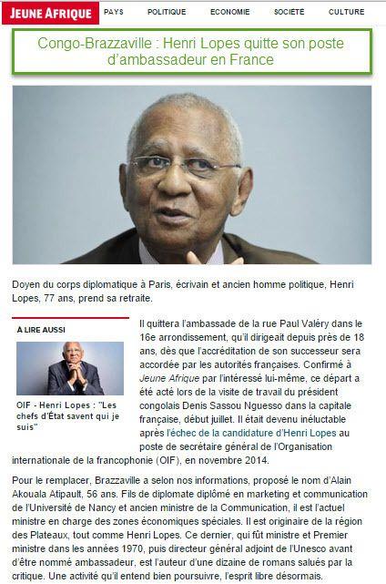 DIPLOMATIE : JEUNE AFRIQUE CONFIRME LE DEPART DE SON EXCELLENCE HENRI LOPES