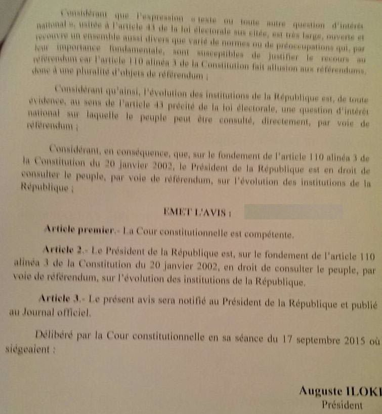 CONGO/REFERENDUM : ANALYSE DU DOCUMENT DE LA COUR CONSTITUTIONNELLE