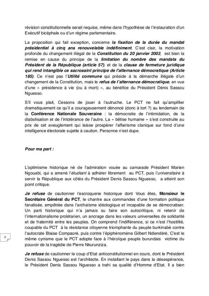 DEMISSION DE CHARLES ZACHARIE BOWAO DU PCT