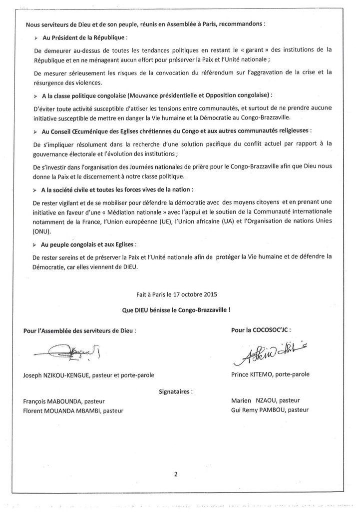 CHRISTIANISME : MESSAGE DES SERVITEURS DE DIEU DU CONGO RESIDANT EN FRANCE