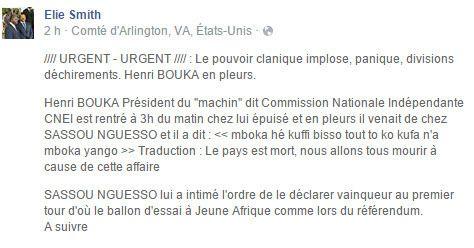 URGENT : MONSIEUR HENRI BOUKA N'A PAS A OBEIR AUX INJONCTIONS DE SASSOU DENIS