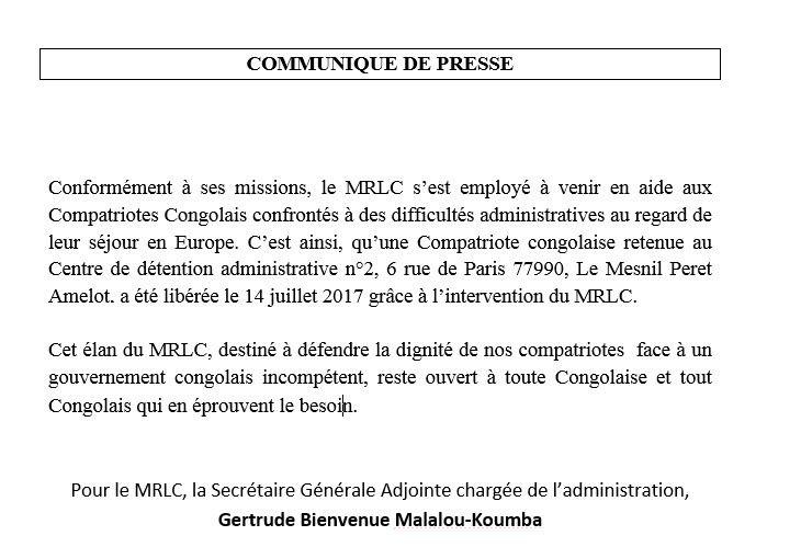 MRLC : COMMUNIQUE DE PRESSE