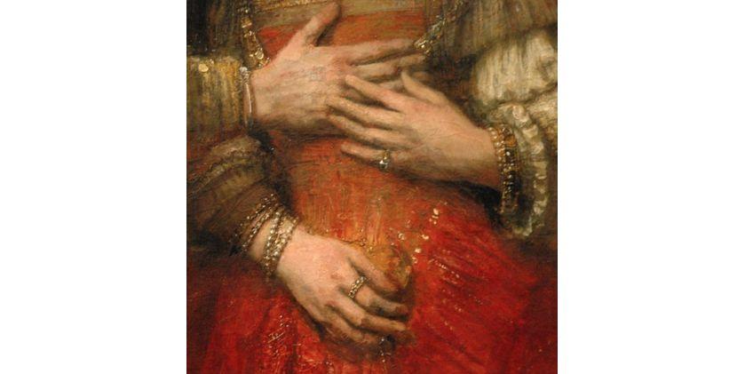 """Détail de """"La fiancée juive"""" de Rembrandt"""