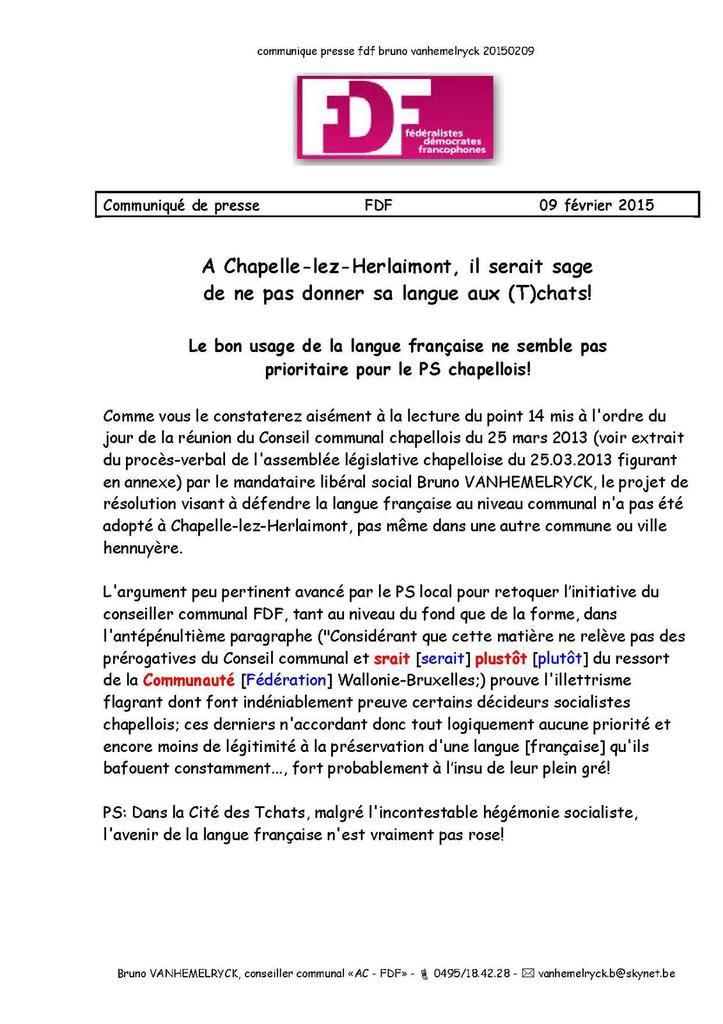 communiqué de presse - 09.02.2015 - A Chapelle-lez-Herlaimont, il serait sage de ne pas confier sa langue aux Tchats!