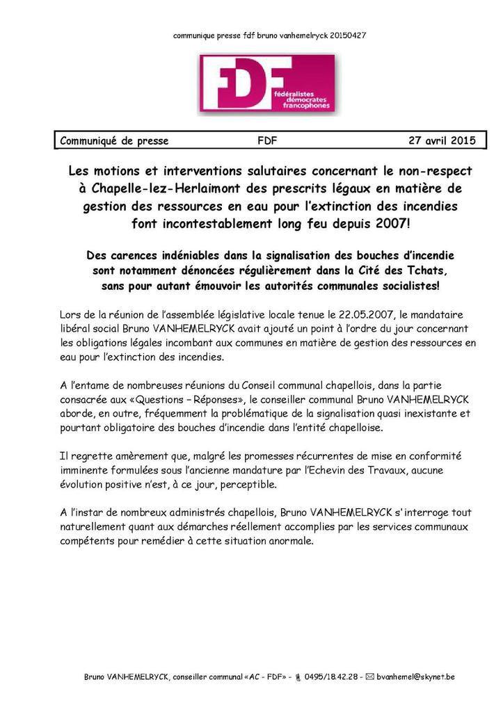 """communiqué de presse - 27.04.2015 - """"Dans la Cité des Tchats, tout va très bien, Madame la Marquise!"""""""