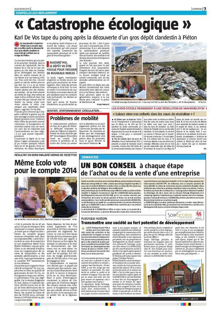 """article intitulé """"Chapelle-lez-Herlaimont - Catastrophe écologique"""" paru dans le journal """"La Nouvelle Gazette"""" (édition du Centre) du jeudi 28 mai 2015 (quotidien disponible dans toutes les bonnes librairies)"""