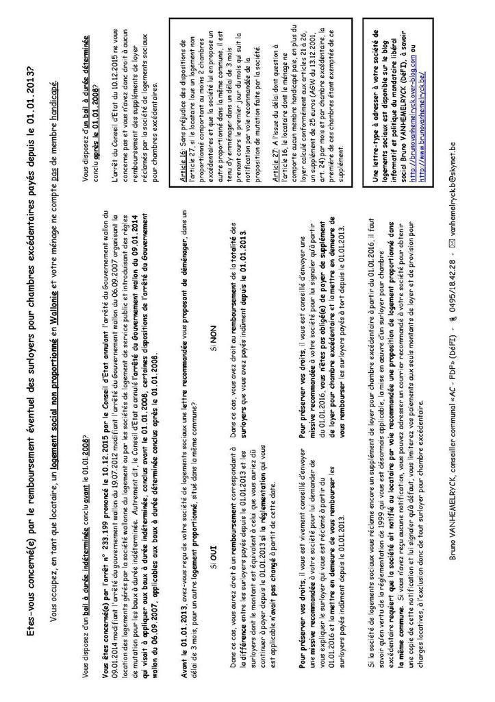 Etes-vous concerné(e) ou peut-être l'un(e) de vos ami(e)s, en tant que locataire d'une habitation sociale en Wallonie, par le remboursement éventuel des surloyers pour chambres excédentaires payés depuis le 01.01.2013?