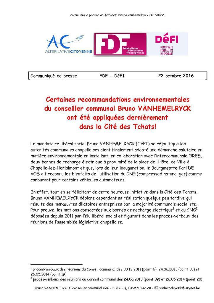 communiqué de presse - Bruno VANHEMELRYCK, conseiller communal &quot&#x3B;AC - FDF&quot&#x3B; (DéFI) - 22.10.2016