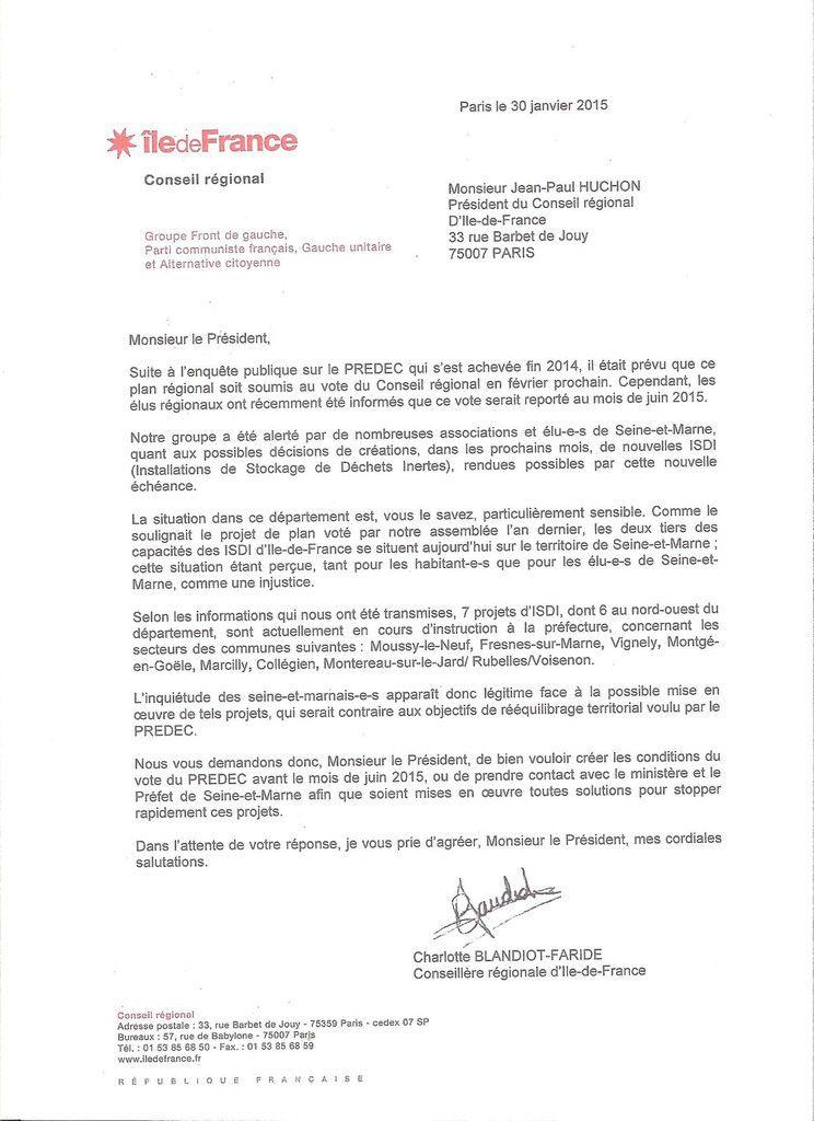 PREDEC Lettre de Mme Blandiot-Faride conseillère régionale et adjointe au maire de Mitry-Mory à M. J.P. Huchon