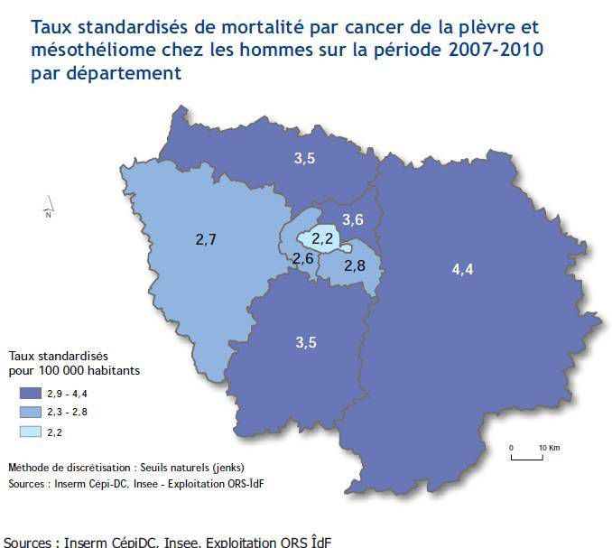 Une mortalité par cancer  de la plèvre et les mésothéliomes chez les hommes deux fois plus  élevée en Seine-et-Marne qu'à Paris