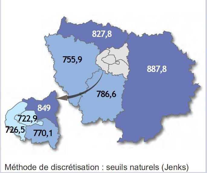 Taux pour 100 000 hommes : Seine et Marne 887.8, Paris 722.9, Hauts de Seine 726.5