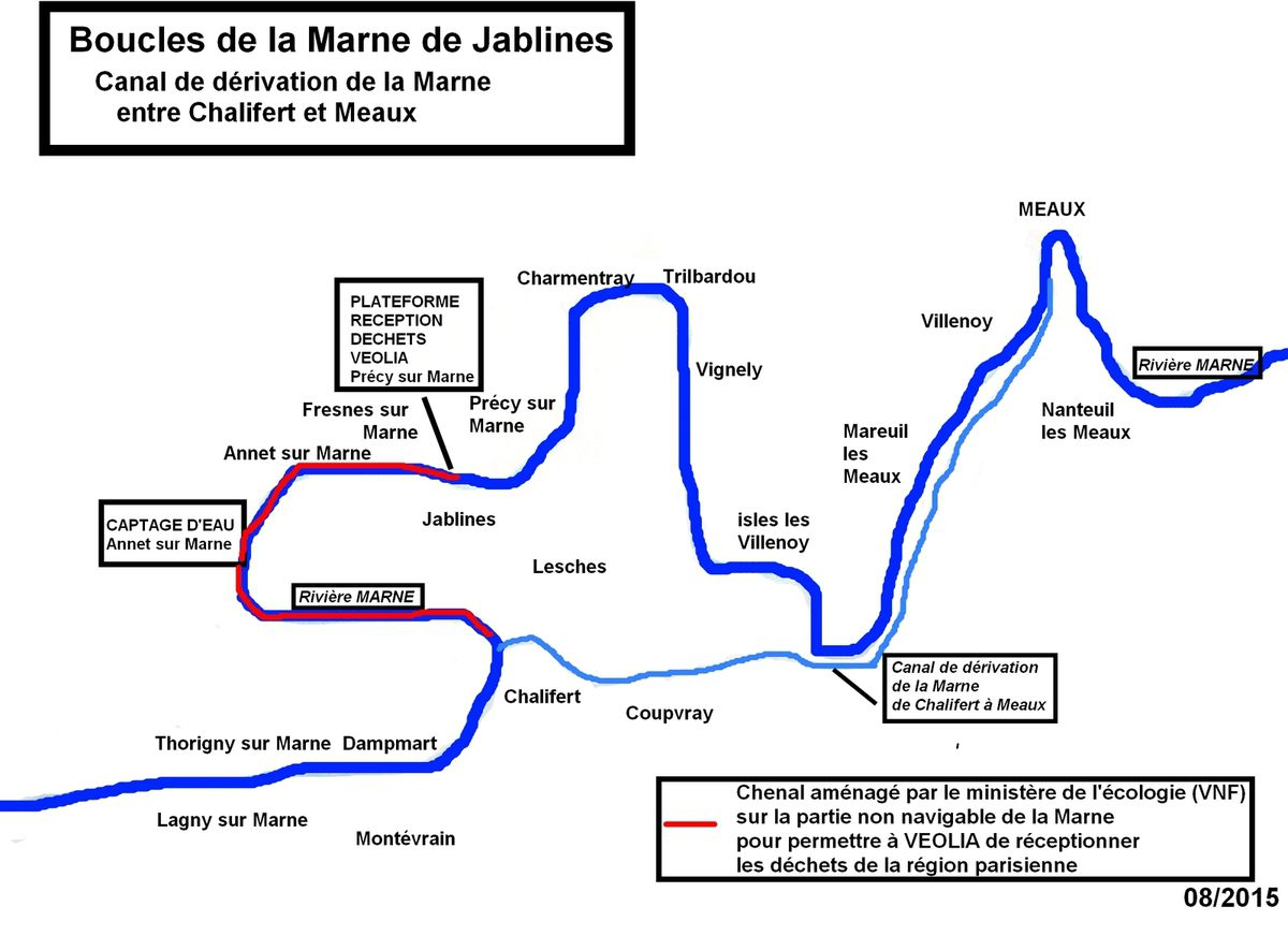 2003 : Roselyne BACHELOT fait creuser un chenal de navigation dans la boucle de Jablines entre Précy/Marne et Chalifert pour favoriser l'apport des déchets en Seine et Marne !
