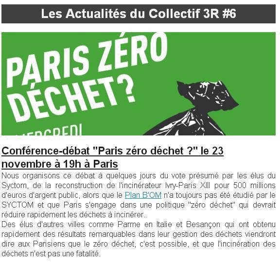 Conférence débat Paris Zéro Déchet le 23 novembre 2016 à 19h