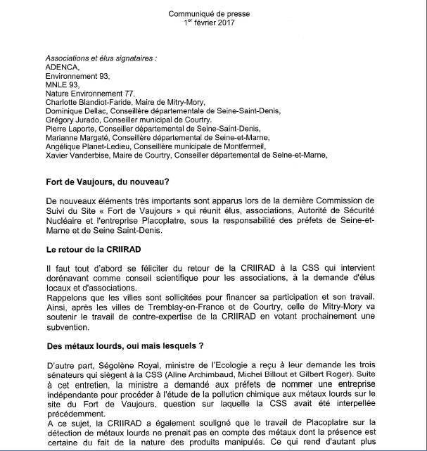 Fort de Vaujours : Placo épinglé sur sa surveillance de la radioactivité