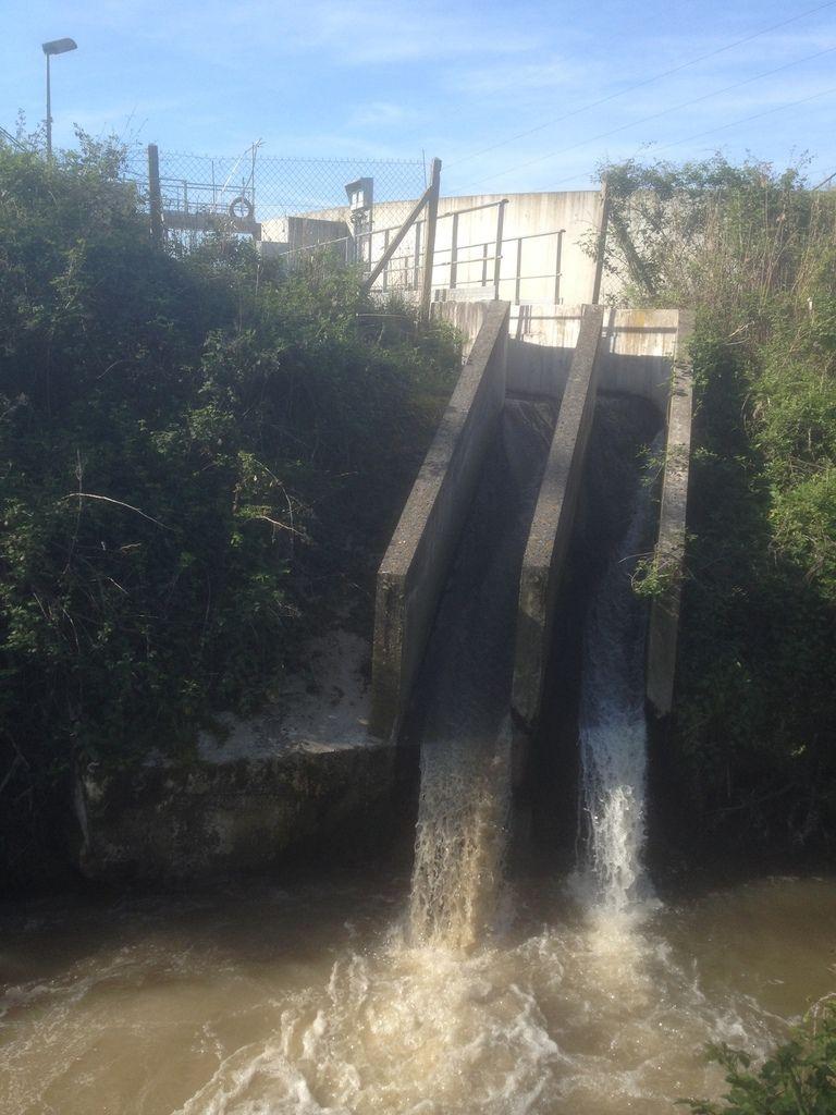 Centre d'épuration de Villeparisis déversant ses eaux dans le ru des Grues